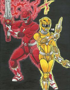 MMPR 20th Anniversary: Red and Yellow Rangers #Art by: BS--COMICS #∆∆shani