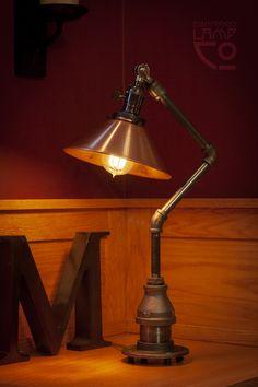 No. 13 – Industrial Light Fixture – Edison Bulb Pipe Lamp — Lamp Co. Vintage Industrial Lighting, Industrial Light Fixtures, Vintage Light Fixtures, Industrial Design, Industrial Chic, Industrial Table Lamps, Karim Rashid, Types Of Lighting, Lighting Design