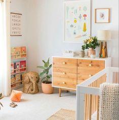 Cheap Home Decor - Modern Mid Century Nursery, Mid Century Living Room, Gender Neutral Bedrooms, Nursery Neutral, Gender Neutral Toys, Modern Playroom, Playroom Ideas, Modern Bedroom, Mid Century Dining Table