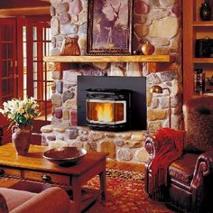 Avalon builds affordable gas, wood & pellet burning fireplace inserts and freestanding stoves. Learn more about these cost-effective home hearth solutions! Pellet Fireplace, Wood Pellet Stoves, Fireplace Stores, Home Fireplace, Fireplace Ideas, Rock Fireplaces, Electric Fireplaces, Whitney House, Log Cabin Living