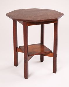 Stickley Brothers Octagonal Lamp Table. Unsigned. Original finish, except top refinished. 29.5″h x 26″d