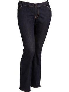 Women's Plus The Rockstar Slim Boot-Cut Dark-Wash Jeans | Old Navy $39.00