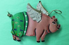 "Flying Pig ""When Pigs Fly"" Mexican Folk Art Pig with Angel's Halo Wall Ornament!"