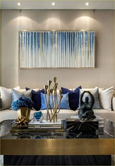 Blue and Gold Living Room Decor. 20 Blue and Gold Living Room Decor. the Best Silver Living Room Decor Best Interior Decor Blue And Gold Living Room, Blue Living Room Decor, Living Room Designs, Living Room Murals, Living Room Furniture, Art Deco Table, Deco Originale, Home And Deco, Living Room Inspiration