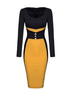 Round Neck Color Block Decorative Buttons Bodycon-dress