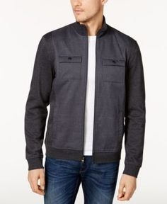 Alfani Reyes Mixed-Media Jacket, Created for Macy's - Gray 2XL