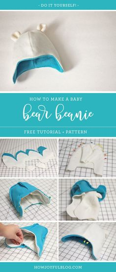 How to make a baby beanie with teddy bear ears - Tutorial and pattern - by HowJo. - Crochets , How to make a baby beanie with teddy bear ears - Tutorial and pattern - by HowJo. How to make a baby beanie with teddy bear ears - Tutorial and patt. Hat Patterns To Sew, Sewing Patterns Free, Baby Patterns, Free Pattern, Sewing Tutorials, Pattern Sewing, Sewing Ideas, Baby Sewing Projects, Sewing For Kids
