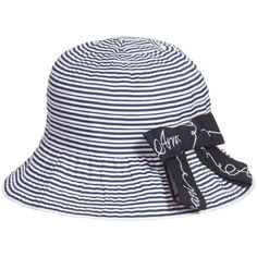 Girls Navy Blue & White Striped Logo Bow Hat, Armani, Girl