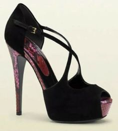 6c0e7b19dd1 Heels · NEW GUCCI Black Red Suede Python Peep Toe Ankle Strap