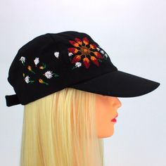 5a78ebbdbc3dc Wildflowers Figures Hand Embroidered Hat - Camping Hat - Custom Black  Baseball Cap - Floral Design Hats for Women - Hiking Hat