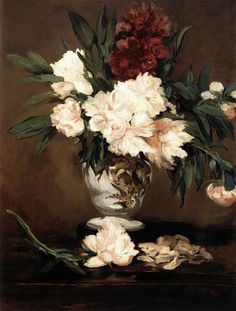 Edouard MANET [French Realist/Impressionist Painter, 1832-1883] Vase of Peonies on a Pedestal1864