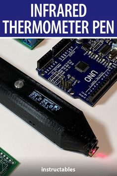 xmorneau's infrared thermometer pen, or ThermoPen, is a portable thermometer usable for precise uses case such as to inspect overheating electronic parts on PCB and for general troubleshooting. #Instructables #electronics #technology #tool #Arduino Useful Arduino Projects, Maxima And Minima, Battery Icon, Temperature Measurement, Electronic Parts, Infrared Thermometer, Buzzer, Use Case, Technology