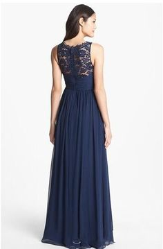 2016 Summer Navy Blue Lace Long Bridesmaid Dresses For Weddings A Line Chiffon Plus Size vestido madrinha Wedding Party Dress