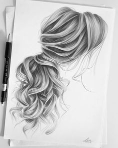 22+ Girl Hair Drawing Ideas and References - Beautiful Dawn Designs Realistic Hair Drawing, Girl Hair Drawing, Girl Drawing Sketches, Art Drawings Sketches Simple, Pencil Art Drawings, Realistic Sketch, Drawings Of Hair, Drawing Ideas, Drawing Drawing