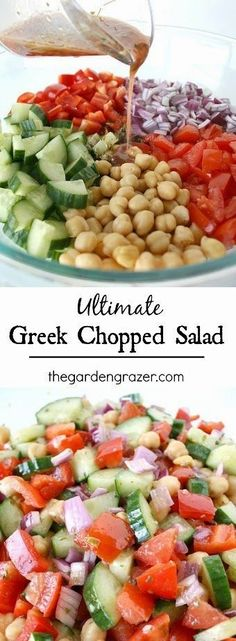 Greek Chopped Salad. Dressing: red wine vinegar, o.o., oregano, salt. Cucumber, onion, bell pepper, tomato, garbanzo beans- add dressing.