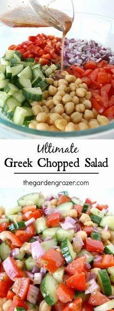Greek Chopped Salad. Dressing: red wine vinegar, o.o., oregano, salt. Cucumber, onion, bell pepper, tomato, garbanzo beans- add dressing.