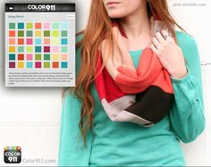 This beautiful DIY scarf can be made from fabric or sweater pieces. See how you can use a Color911 color theme for color inspiration! #color #DIY