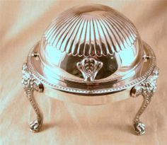 Antique 1883 F B Rogers Silver Plate # 273 Lion's Head Dome Shaped Butter Dish