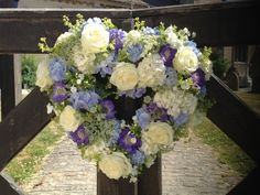 Wessex Flower Company - Blue Heart Wreath Hydrangeas and roses.