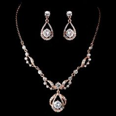 Rose Gold & Clear Rhinestone Necklace Set