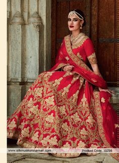 Classy Red Raw Silk Kasab Work Bridal Lehenga Choli #LehengaCholi