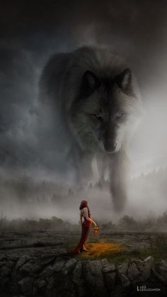 Girl asks great wolf spirit for her tribe/family/village/household will prosper? Plants will grow? Fantasy Wolf, Dark Fantasy Art, Fantasy Artwork, Wolf Spirit, Spirit Animal, Fantasy Creatures, Mythical Creatures, Tier Wolf, Wolves And Women