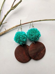 Your place to buy and sell all things handmade Diy Yarn Earrings, Wooden Earrings, Beaded Earrings, Earrings Handmade, Crochet Earrings, Handmade Jewelry, Tassel Jewelry, Textile Jewelry, Bead Jewellery