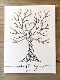 Canvas Thumbprint/fingerprint Guest Book by IvyJamesDesigns