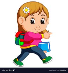 illustration of School girl cartoon walking. Download a Free Preview or High Quality Adobe Illustrator Ai, EPS, PDF and High Resolution JPEG versions.