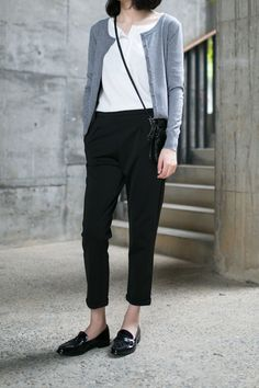 Cardigan with a sweet collar...Crossbody bag, Ankle length pants. Perfect