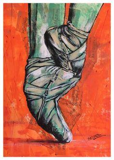 """""""Pointe Shoes"""" Acrílico y collage 50x70 cms No sucede siempre.  Pero cuando encuentro al pibito que dibujaba todo lo que veía, el mundo deja de girar.  Y por un instante soy inmensamente feliz. #art #ballet #ballerina #draw #paint #happy"""
