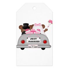 Wedding Car couple-Just married Gift Tags - married gifts wedding anniversary marriage party diy cyo