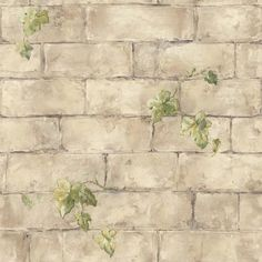 The Wallpaper Company, 56 sq. Beige Ivy and Brick Wallpaper, at The Home Depot - Tablet Bedroom Wallpaper Beige, Bathroom Wallpaper, Papel Scrapbook, Scrapbooking, Wallpaper Companies, Brick And Stone, Decoupage Paper, Background Pictures, Printable Paper