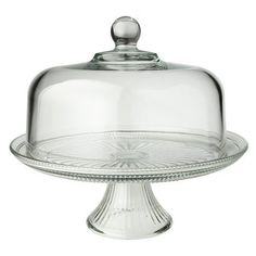 Cake Stand with Cover. Turn upside-down, & the dome becomes a punch bowl & flip the stand so the bowl has a wide base