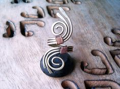 Wire Wrapped Brass and Copper Adjustable Ring by GearsFactory