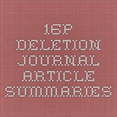 16p Deletion Journal Article Summaries