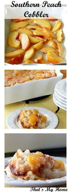 Southern Recipes Best Country Cooking Recipes - Southern Peach Cobbler - Easy Recipes for Country. Fruit Recipes, Baking Recipes, Sweet Recipes, Dessert Recipes, Easy Recipes, Recipies, Healthy Southern Recipes, Southern Desserts, Southern Dishes