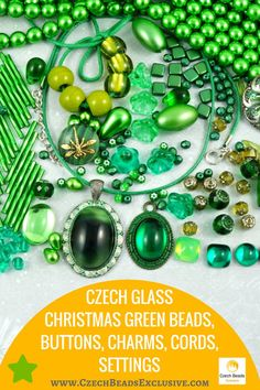 Czech Glass Christmas Green Beads, Buttons, Charms, Cords, Settings  Different designs and sizes! - Buy now with discount!  Hurry up - sold out very fast! www.CzechBeadsExclusive.com/+green SAVE them!
