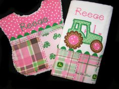 Personalized Baby Bib and Burp Cloth - Gift Set -White Chenille - Tractor