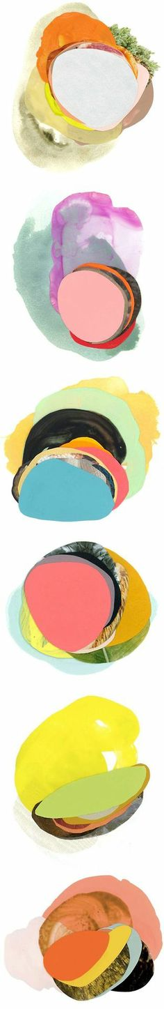 I like the use of simple colour and shapes. Original text: These are the layered, colorful, beautifully composed mixed media paintings of Austin based artist Xochi Solis. Art And Illustration, The Design Files, Art Graphique, Art Plastique, Art Inspo, Painting & Drawing, Design Art, Contemporary Art, Art Photography