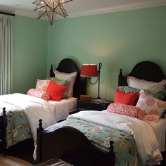 A color scheme can completely transform a room ? here, this fun kid?s bedroom for two is drenched in a calming shade of mint green with lovely flecks of hot pink. Guest Bedrooms, Room, Beautiful Bedrooms, Interior, Home, Bedroom Inspirations, Bedroom Decor, Kids Bedroom, New Room