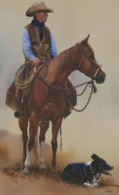 by John Fawcet Cowboy Horse, Cowboy Art, Cowboy And Cowgirl, Japanese Watercolor, Horse Anatomy, West Art, Horse Drawings, Le Far West, Mountain Man