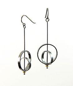 Orbit Earrings with Gold Bead by Grace Stokes (Gold & Silver Earrings)