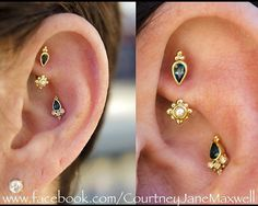 This stunning ear belongs to my client Alicia. We did these piercings (now healed) specifically to make her ear an elegant jewelry showcase. These pieces feature 14k yellow gold london blue topaz and genuine pearl accents. I had so much fun this!! Huge shout out do @dansteinbacher for taking these photos for me! #safepiercing #bvla #pearl #gold #luxury #rook #conch #appmember #goldbodyjewelry