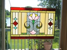Arts and crafts stained glass window panel flower by SGHovel, $149.00