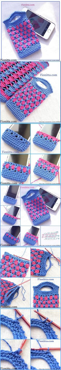 How to Crochet Mobile Cell Phone Pouch for iPhone Samsung - Crochet Ideas Crochet Phone Cover, Mode Crochet, Crochet Pouch, Crochet Purses, Crochet Gifts, Diy Crochet, Crochet Stitches, Crochet Designs, Crochet Patterns