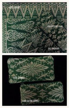 Green Songket Flat Pouches