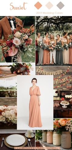 Sunset orange wedding colors for 2019 trends with bridesmaid dresses . Sunset orange wedding colors for 2019 trends with bridesmaid dresses Sunset orange wedding colors for 2019 trends with bridesmaid dresses Sunset Wedding Theme, Sunset Beach Weddings, Wedding Themes, Wedding Ideas, Wedding Goals, Orange Wedding Colors, Beach Wedding Colors, Boho Beach Wedding, Unique Wedding Colors