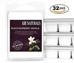 Lee Naturals Classics - (32 Pack) BLACK RASPBERRY VANILLA Premium All Natural 6-Piece Soy Wax Melts. Hand Poured Naturally Strong Scented Soy Wax Cubes