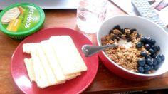 Breakfast: gluten-free crackers, hummus, organic vanilla yogurt w/ oats blueberries and raisins with water